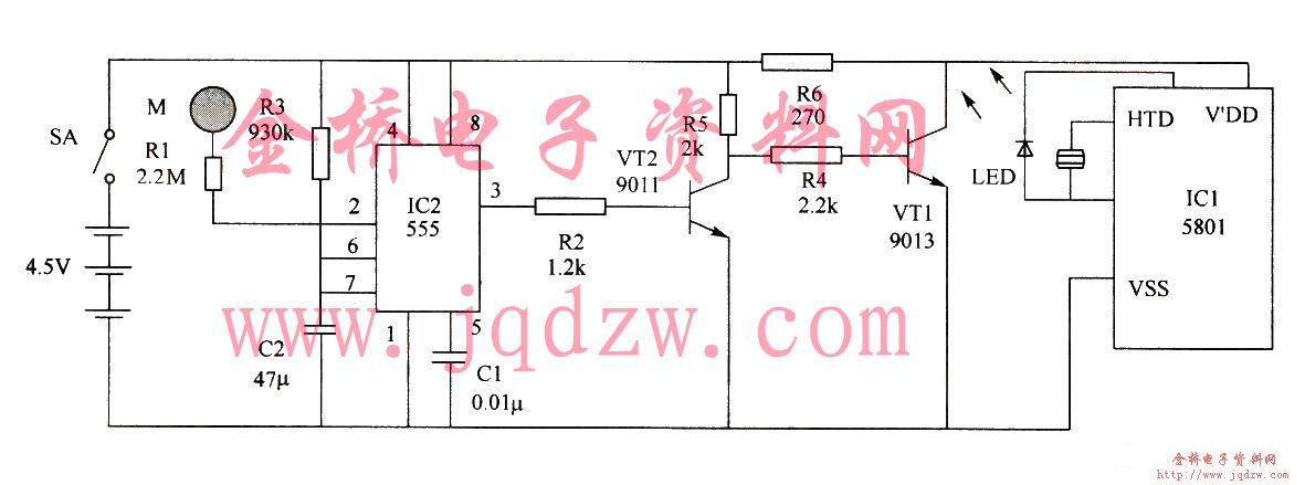 555组成的电子蜡烛电路图